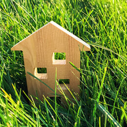 Small wooden house in grass